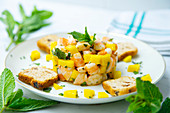Shrimp tartar with mango and mint