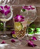 Glasses of sparkling ginger drinks and sparkling water with lime and edible flower garnish
