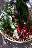 A wooden basket on an outdoor stone surface, filled with rainbow swiss chard, tomatoes, leeks, mint and basil