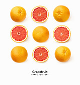 Creative pattern with fresh grapefruits isolated