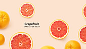 Creative banner flatlay with fresh grapefruits isolated on pink background