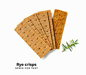 A pile of rye crisps isolated on white background