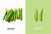 Zuckerschoten auf weiss-grünem Hintergrund