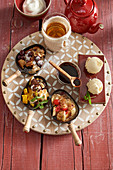 Sweet dishes with Kaiserschmarrn, banana split, mango and chocolate fondue