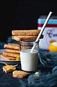 Polenta cookies on glass of milk