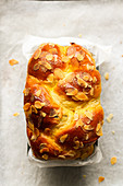 Brioche striezel with flaked almonds