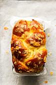 Brioche striezel with flaked almonds