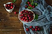 Vintage table and sweet cherries