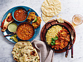 Chilli and beans with rice and flatbread (Mexico)