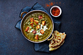 Indian vegetarian palak paneer starter