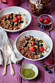 Chocolate granola with yogurt