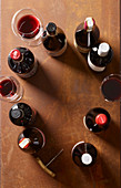 Red wine bottles and red wine glasses