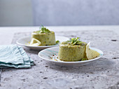 Fava bean flans with pecorino cheese made in a pressure cooker