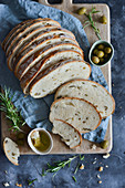 Olive bread cut into slices