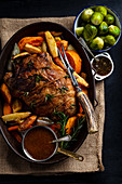 Roast Mutton with Vegetables and Mint Sauce