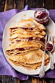 Pancakes with chocolate quark and jam