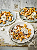 Gnocchi with mushrooms and paprika butter