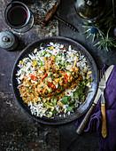 Rabbit korma, chamomile golden raisins and wild rice