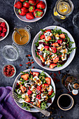 Beetroot salad with berries and feta