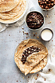 Crepes with homemade chocolate cream