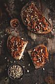 Dried tomato spread in bread
