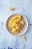 Crepe with banana and muesli