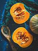 Raw pumpkin cut in halves