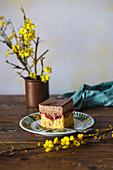 Ein Stück Kirsch-Schokoladen-Kuchen