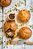 Steak pies with brown sauce