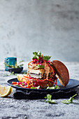 Crispy haloumi-stuffed mushroom burgers with red cabbageand carrot slaw