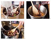 Preparing rhubarb jam