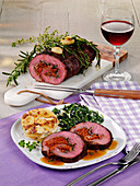 Mediterranean style stuffed fillet of beef