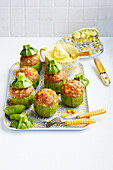 Stuffed round courgettes