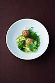Peanut and marjoram croquettes with avocado and shiso