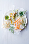 Vegetable tempura with cardamom and lime dip