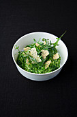 Arugula and mocha risotto with mountain cheese crunchy topping