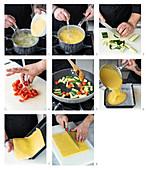 Preparing polenta slices with sliced vegetables