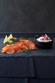 Pickled salmon with cranberry dip