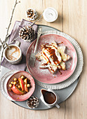 Sweet Christmas breakfast with Star Pandoro, spiced coffee and baked apple
