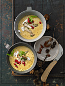 Cream of yellow lentil soup with roasted mushrooms