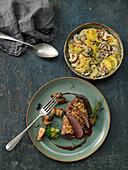 Porcini and potato gratin with venison