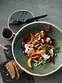 Autumnal porcini mushroom and pumpkin salad with nut bread