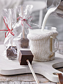 Chocolate skewers for hot chocolate