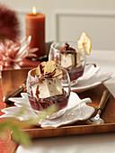 Coffee and cardamom cream with pears
