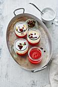 Beetroot cappuccino in several mason jars