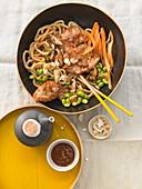 Oriental spring bowl with crispy miso escalopes