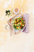 A colourful gnocchi salad