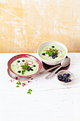 Buttermilk soup with radishes and blueberries