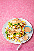 Pancakes with Thai salad - chicken, mango, peanutbutter dressing, cilantro