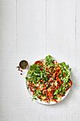 Risoni salad with haloumi, pumpkin and pomegranate